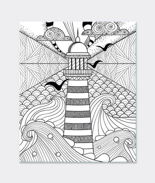 Deniz Feneri Desen Boyama Mandala Desen Tablo Kanvas Kanvashikayeleri Mandala Boyama Deniz Elde Cizilmis Zentangle Desenler Boyama Sayfalari Mandala