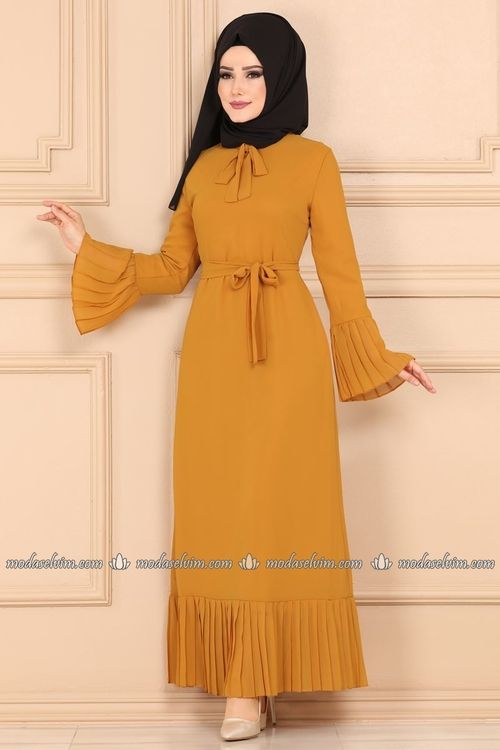 Modaselvim Elbise Pilise Detayli Sifon Tesettur Elbise 4046mb205 Hardal Kiyafet Elbise Basortusu Modasi