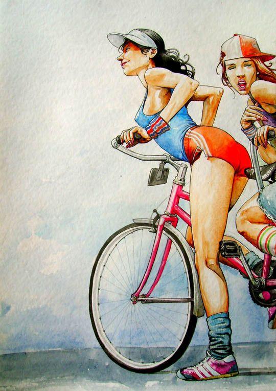 garotas na bike