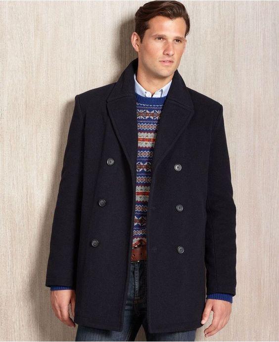 Ralph Lauren Double Breasted Peacoat Navy 44L Men\u0026#39;s Coat W/ Scarf Compare $350 #RalphLauren