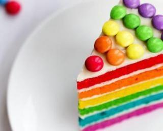 Gâteau d'anniversaire allégé façon Rainbow cake : http://www.fourchette-et-bikini.fr/recettes/recettes-minceur/gateau-danniversaire-allege-facon-rainbow-cake.html