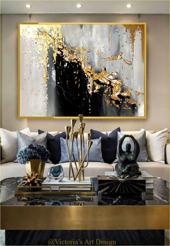 Oil Painting Original Oil Painting Abstract Modern On Canvas Golden Leaf Large Wall Handmade Art By Victoria S Art Design Gold Living Room Decor Decor Gold Living Room