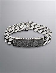 David Yurman Men's Curb Chain ID Bracelet, Black Diamond, 14.5mm at London Jewelers!