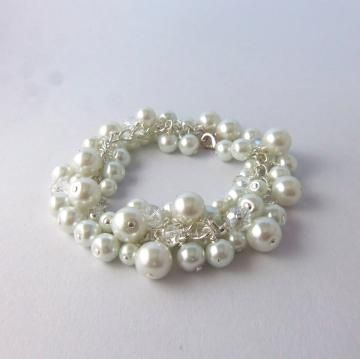 White pearl and crystal bracelet, heavy pearl bracelet, bridal jewelry by FayeValentine for $35.00
