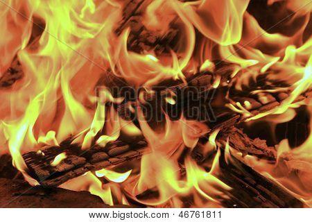 Burning Fire Close Up Fireplace Poster Poster Close Up