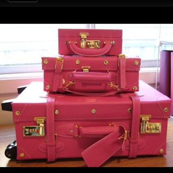Pink traveling trunks