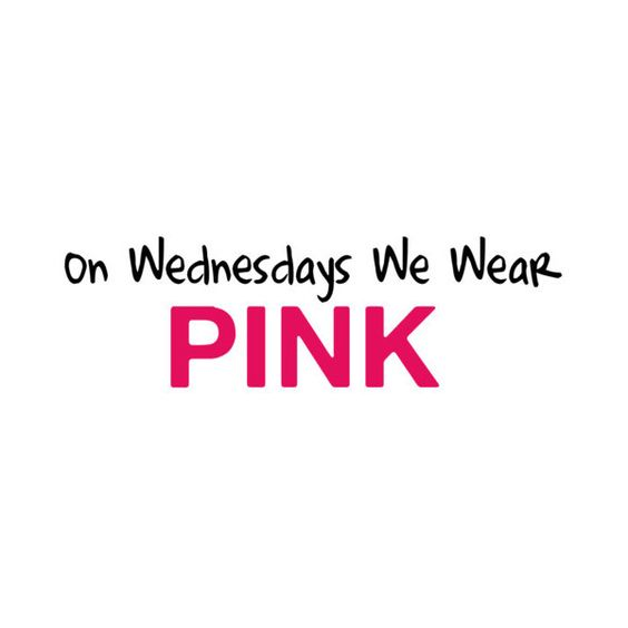 Mean Girls Quote- On Wednesdays We Wear PINK ❤ liked on Polyvore