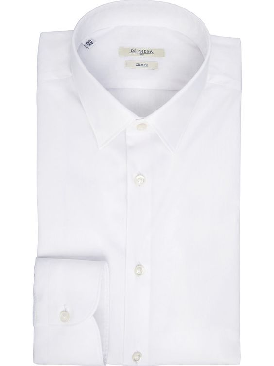 White shirt, slim fit small collar Delsiena