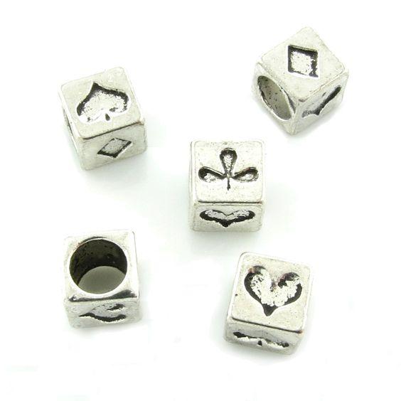 5 European Beads 7mm Kartenspiel Karo Pik Kreuz Herz Karten Perlen Poker | Fädelloch ab 4mm | Zwischenperlen | Bacabella.com | Perlen, Schmuck und Schmuckzubehör zum Schmuck selber machen | Schmuck basteln DIY DoItYourself | ganz individuell und einfach | Schmuckperlen