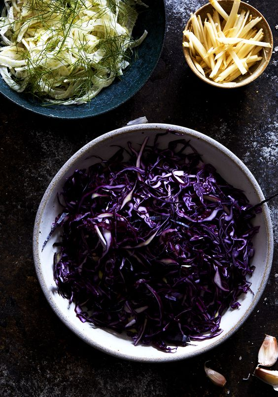 Red cabbage & fennel slaw with toasted pistachios & tangy mustard dressing (gluten-free, vegan) / Sassy Kitchen