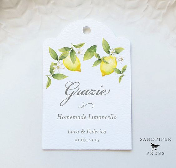 Grazie Limoncello Tags, Personalized Gift Tags, Wedding ...