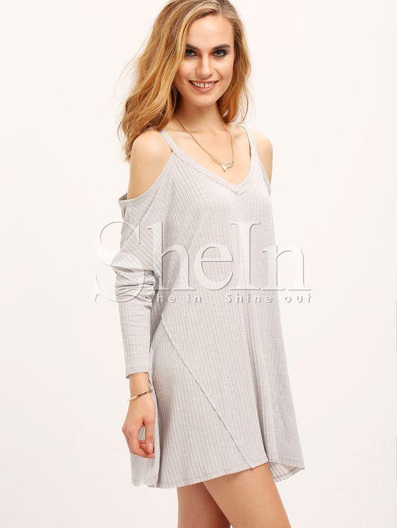 Vestido hombro al aire suelto -gris-Spanish SheIn(Sheinside)