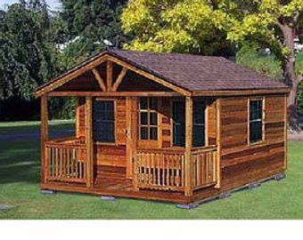 12 X 12 Cottage Cabin Shed With Porch Plans Etsy Shed With Porch Guest House Shed Shed Building Plans