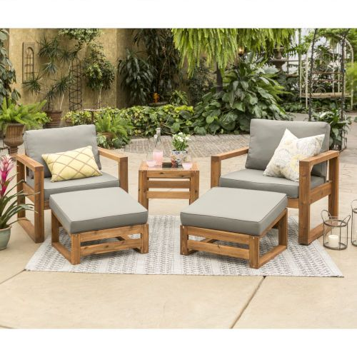 Walker Edison Furniture Co Brown 30 Inch Five Piece Outdoor Chat