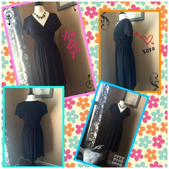 Motherhood Maternity Little Black Dress!  Super cute and comfy Motherhood Maternity dress! Wrap style with wide elastic band beneath bustline. This dress looks great from the beginning of the pregnancy up to delivery and even post delivery.  Dresses