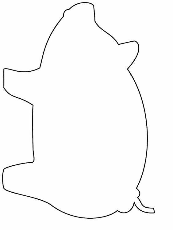 Simple shapes coloring pages stencils and fonts for Pig template for preschoolers