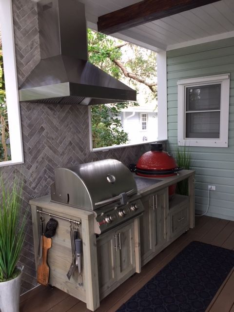 Outdoor Rolling Grill Kitchen With Blaze Gas Grill And Kamado Joe We Customize And Ship Through Out Outdoor Kitchen Design Outdoor Kitchen Grill Outdoor Grill