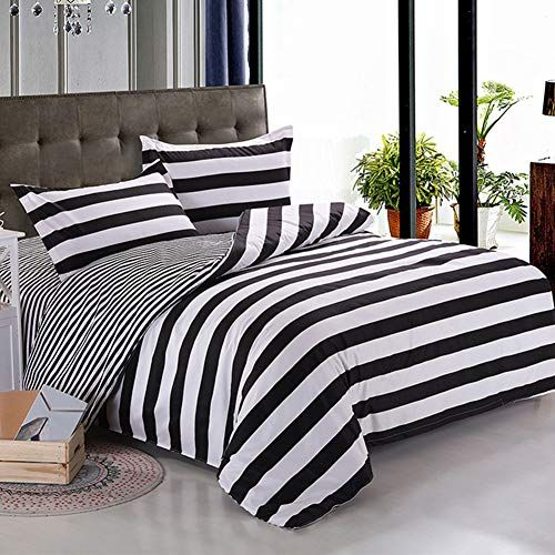 3 Pieces Duvet Cover Set Black And White Stripe Printed Striped