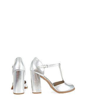 Wide Fit Silver T-Bar Block Heels | New Look | Shoes | Pinterest ...