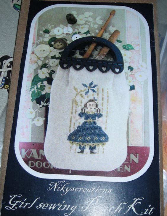"2015 Nashville Trade Show Limited Release by Nikyscreations ""Girl Sewing Pouch"" Kit by ValleyNeedleworks on Etsy"