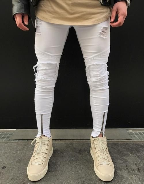 Ripped Jeans For Men Skinny Distressed Slim Famous Biker Hip Hop Long Pants Boys