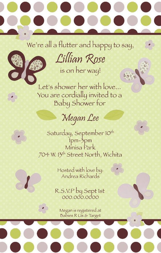 CoCaLo Sugar Plum Butterfly Girl Baby Shower Invitation - YOU PRINT!