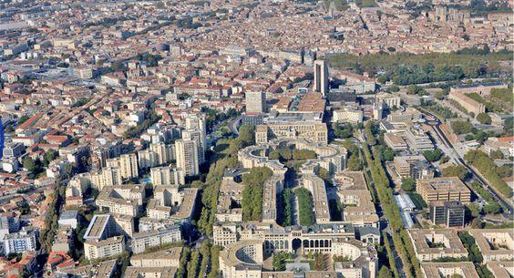 Le quartier Antigone aujourd'hui, à Montpellier, en France