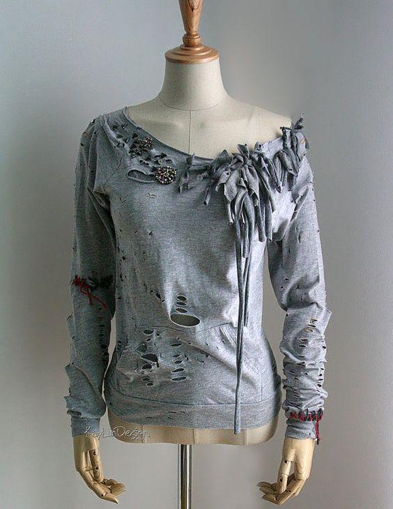 Tattered t-shirt / upcycled t-shirt / long sleeve women t ...