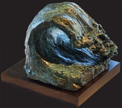 """Wave #2"" #SurfArt sculpture by Regina Hurley. Limited edition fired clay sculpture with a hardwood base."
