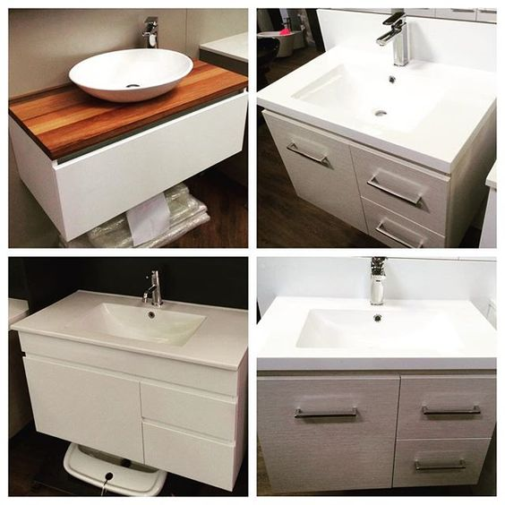 Timber top vanities are coming into vogue and will add a softness to any bathroom design. Wall hung vanities are very popular and give the illusion that they are floating on air. By keeping the vanity off the floor will make the bathroom more spacious, which is great if one is low on square meterage. #vanities @buildingworksau #basins www.buildingworksaust.com.au