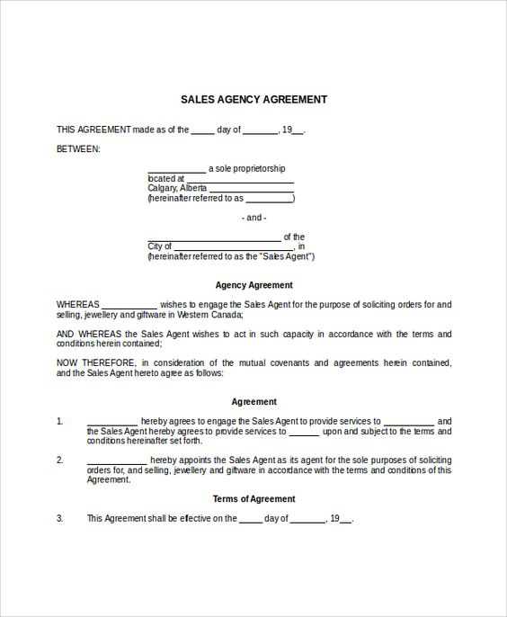 An agreement or contract is formed between two parties or more in - business agency agreement