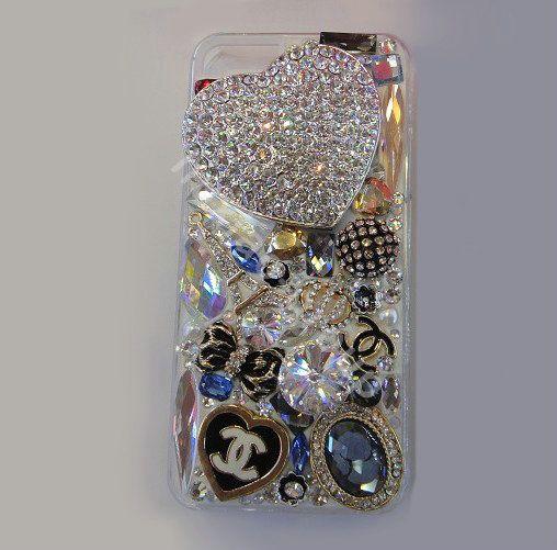 $77.58 Swarovski crystal cases Bling Heart Chanel diamond cover ...