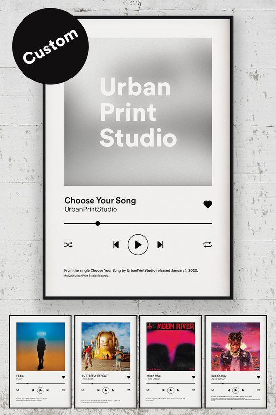 Choose Your Song Custom Album Cover Posters By Urban Print Studio In 2021 Custom Album Covers Bff Gifts Diy Framed Poster Print