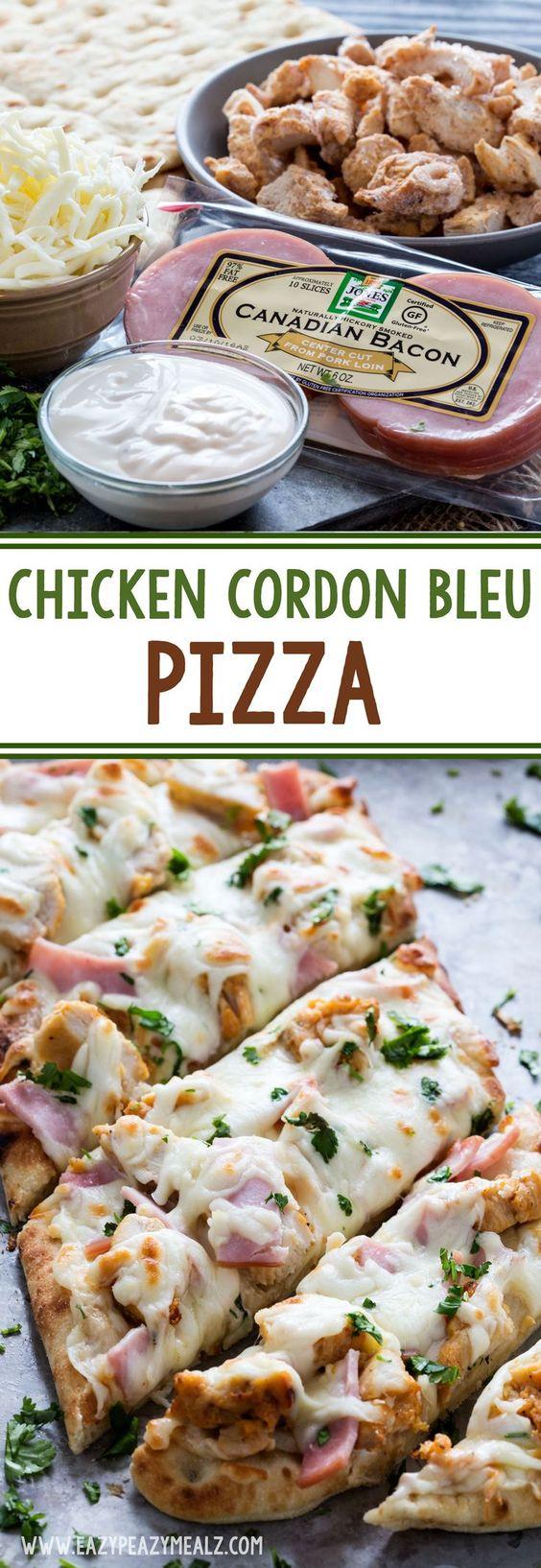 Chicken Cordon Bleu Pizza Recipe via Eazy Peazy Mealz - Chicken Cordon Bleu Pizza is quick, easy, and delicious.