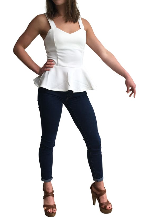 White Peplum Top with Cutout Bows in Back! - 5dollarfashions.com