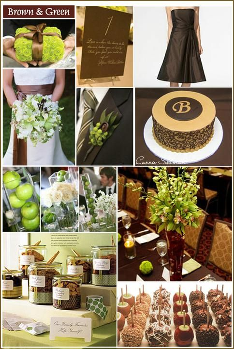 Brown & green #wedding color palette