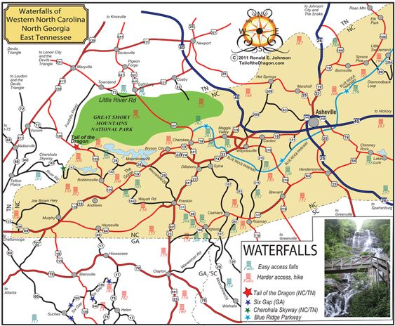 Waterfalls Of Western North Carolina North Georgia And East - Road map north carolina