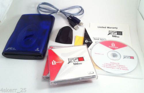 Iomega-USB-Powered-Zip-100MB-External-Drive-TESTED-WORKING-Cable-Disks-Software