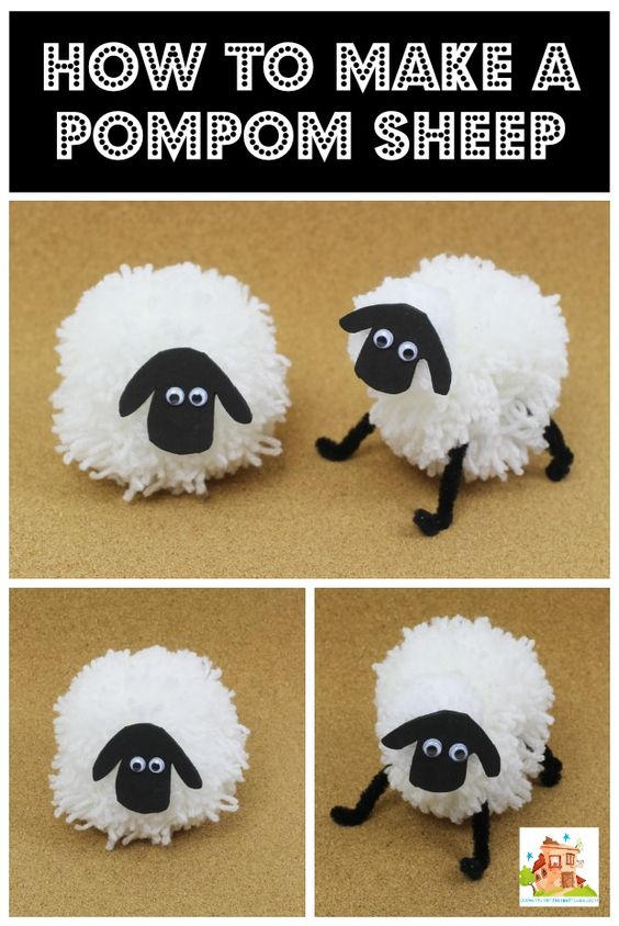How to make a pompom sheep via mum in the mad house.  Great kids craft for Chinese New year - year of the sheep or for the Shaun the Sheep movie