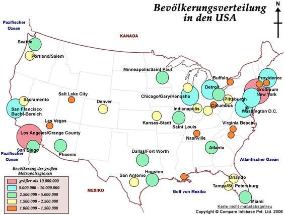 Landkarte US-Bevolkerungsverteilung