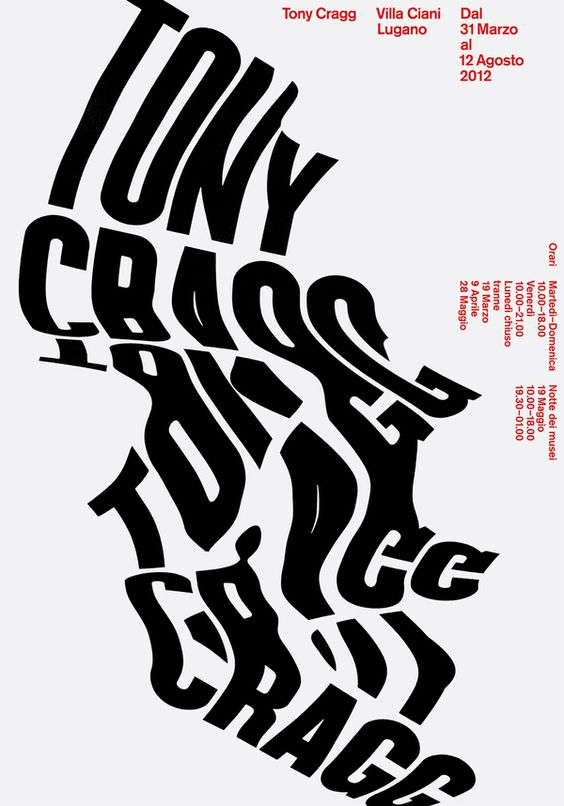 Tony Cragg, poster submitted by Studio CCRZ and designed by Marco Zürcher from Studio CCRZ (2012)–Type OnlyUnit Editions