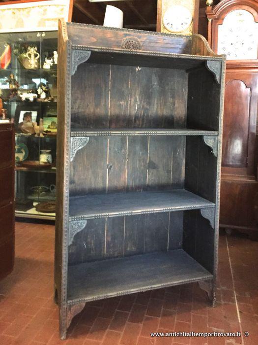 Antica libreria sarda a giorno Antica libreria in castagno