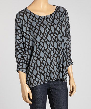 Look what I found on #zulily! Gray & Black Cape-Sleeve Top #zulilyfinds