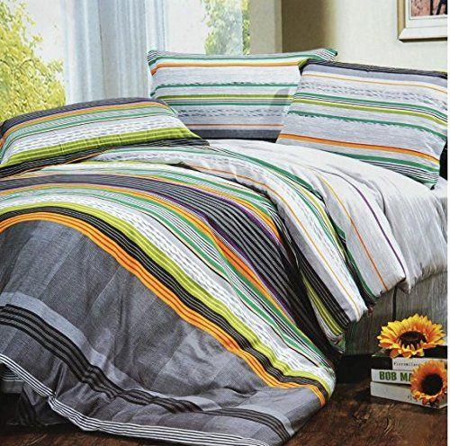 Homydelight Tonal Stripe 100 Cotton 3pc Comforter Cover Duvet