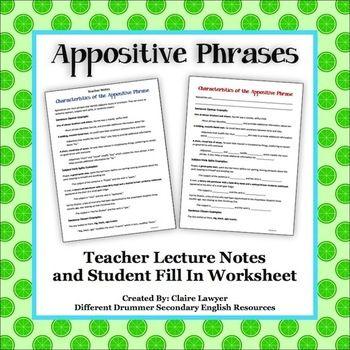 Easy Printable Appositive Worksheets