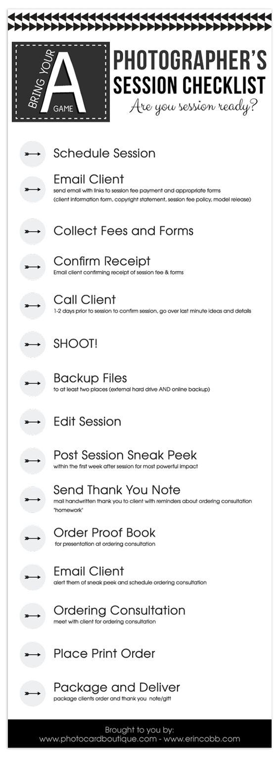 Free Photographers Workflow Checklist!