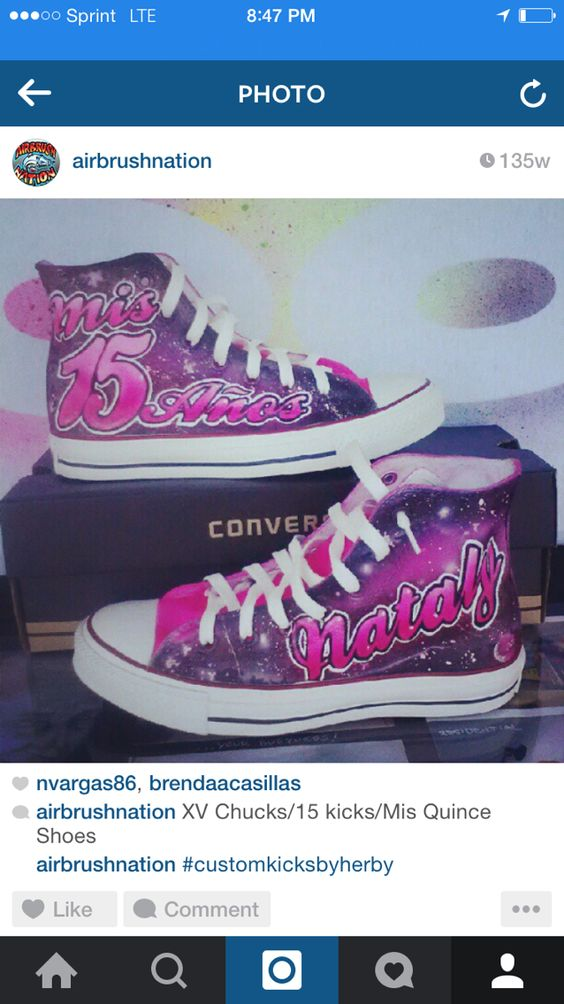 GALAXY Quinceañera Shoes,Mis quince Años, custom converse, airbrush shoes art by Herby. At Airbrush Nation Studio in Los Angeles  Call today 323.456. 5243