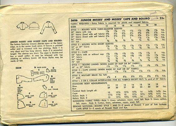 Vintage jaren 1950 eenvoud 3606 missers Cape, bijgesneden Bolero of Bolero naaien patroon  Formaat 13 buste 31.  De bolero functies kimonomouwen open aan de onderste rand, want de naad midden rug loopt. Het beschikt over een puntige kraag en wordt bijgesneden met top stiksel. Stijl 1 is zeer kort en heeft lange mouwen. Stijl 2 is enigszins langer. De mouwen zijn kort. De Kaap is dubbele en heeft een kleine kraag. Het kan worden bijgesneden met top stiksels of militaire vlecht. Alle drie…