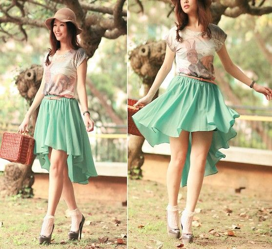 Asymmetric Waterfall Skirt in Mint - Bottoms - Retro, Indie and Unique Fashion