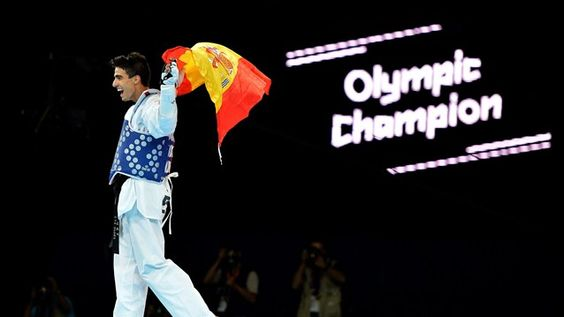 Joel Gonzalez Bonilla celebrates winning the mens Taekwondo 58 kg Gold medal match on Day 12 of the London 2012 Olympic Games at ExCeL.